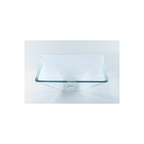 Square Vessel Bathroom Sink with Tempered Glass