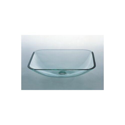 Rectangular Vessel Bathroom Sink with Tempered Glass