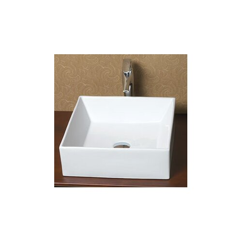 Ronbow Square Ceramic Vessel Bathroom Sink without Overflow