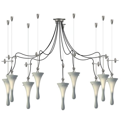 Lamp International Goccia Nine Light Pendant with Swag Kit