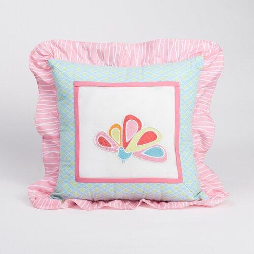 Aqua Peacock Decorative Pillow