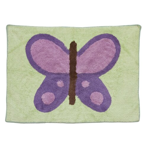 Pam Grace Creations Lavender Butterfly Kids Rug