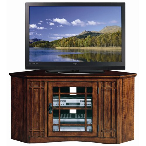 "Leick Furniture 47"" Corner Plasma TV Stand in Mission Oak"