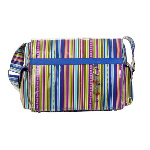 Padded Multitasker Cobalt Stripes Messenger Bag