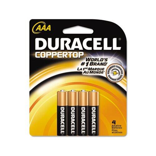 Duracell Coppertop Alkaline Batteries, AAA, 4/pack