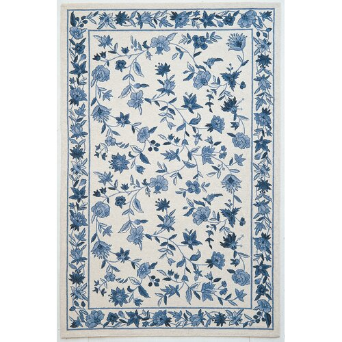 Woolrich Blue And White Floral Rug: KAS Rugs Colonial Ivory/Blue Floral Area Rug & Reviews