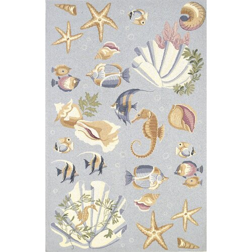 Colonial Blue Nautical Novelty Rug