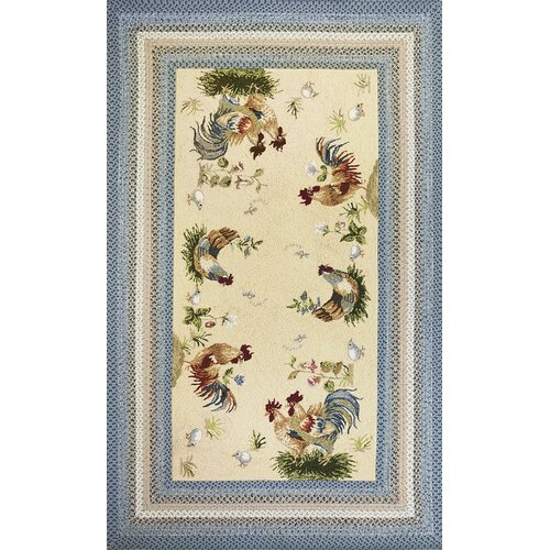 Kas Rugs Fairfax Blue Beige Rooster Pen Area Rug Amp Reviews