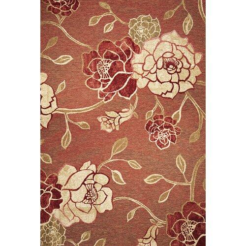 KAS Oriental Rugs Horizon Brick Red Flora Indoor/Outdoor Rug