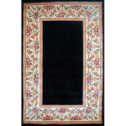KAS Oriental Rugs Ruby Black Floral Border Rug