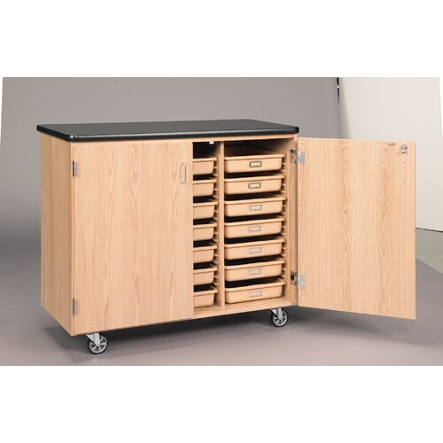Diversified Woodcrafts Mobile Tote Tray Storage Cabinet