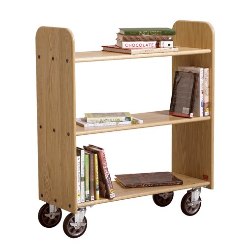 Diversified Woodcrafts Solid Oak Book Truck With 3 Flat Shelves