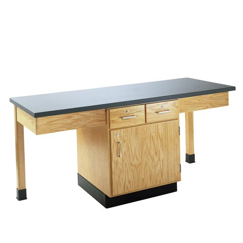 Diversified Woodcrafts 2 Station Science Table With Storage Cabinet, Drawers & Book Compartments