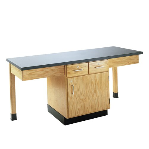 Diversified Woodcrafts 2 Station Science Table With Storage Cabinet & Drawers