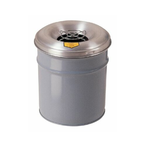 Justrite Cease-Fire® Smoking Receptacles - 6 gallon gray cease-fireash & butt receptacle