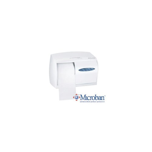 "Kimberly-Clark X 6 1/2"" X 6"" White WINDOWS* Double Roll Coreless Bathroom Tissue Dispenser"