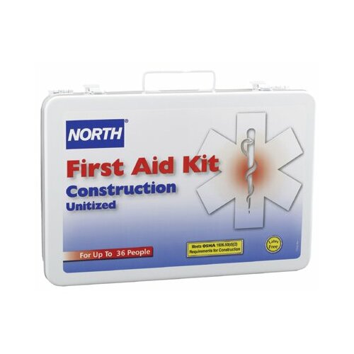 North Safety Construction First Aid Kits - 36 unit unitized first aid kit steel case