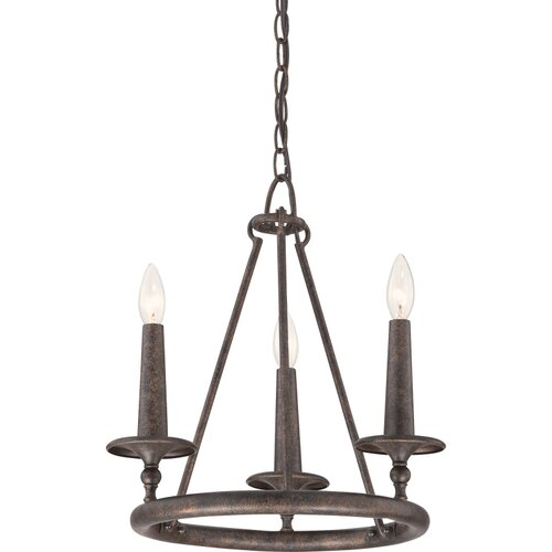 Voyager 3 Light Candle Chandelier