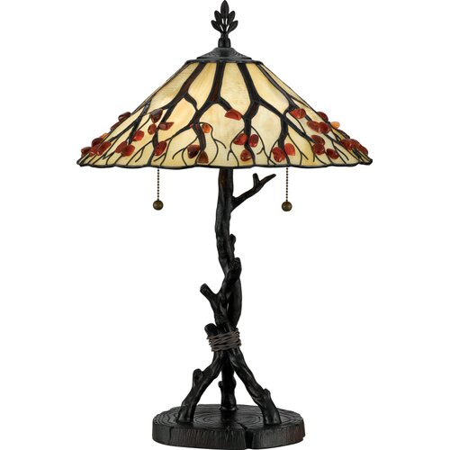 Quoizel Agate Portable Whispering Wood Table Lamp