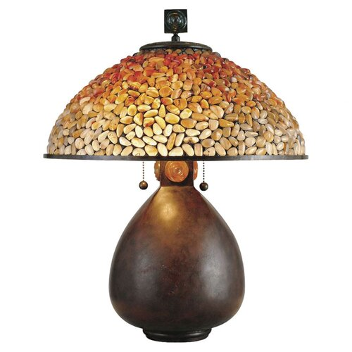 """Quoizel Pomez Tiffany 20.5"""" H Table Lamp with Bowl Shade"""