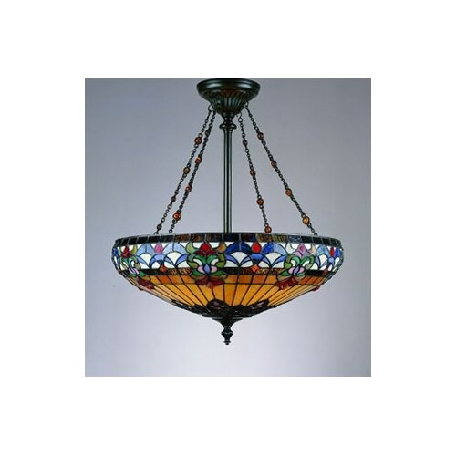 Belle Fleur 4 Light Tiffany Inverted Pendant