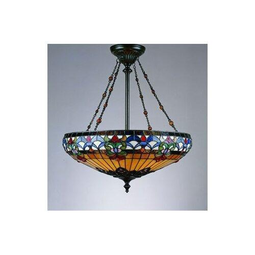 Quoizel belle fleur 4 light tiffany inverted pendant for Quoizel belle fleur tiffany 3 light floor lamp