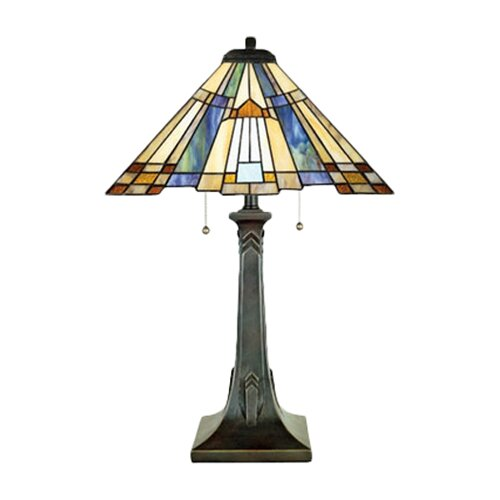 "Quoizel Inglenook Tiffany 25"" H Table Lamp with Empire Shade"