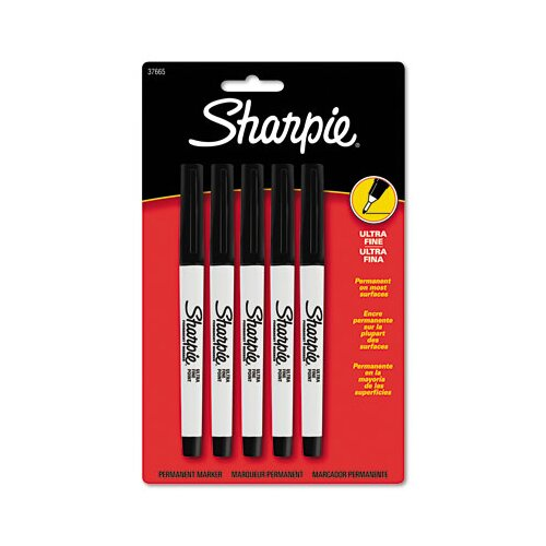 Sharpie® Permanent Markers, Ultra Fine Point, 5/Pack