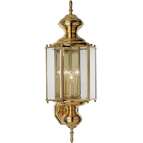 Progress Lighting Brass Guard Outdoor Wall Lantern in Polished Brass