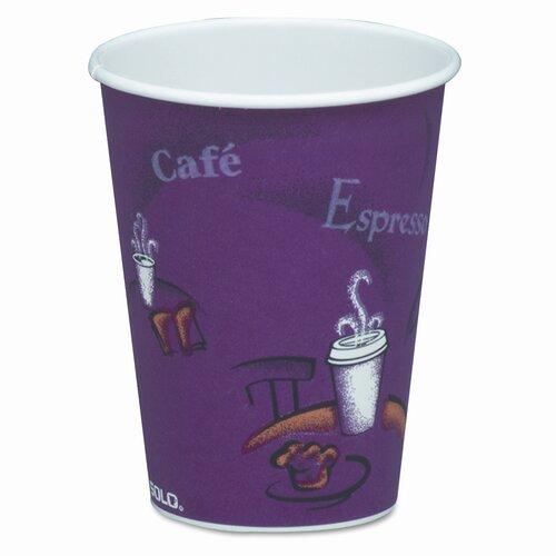 Solo Cups Company Bistro Design Hot Drink Cups, Maroon, 20 Bags of 50/Carton