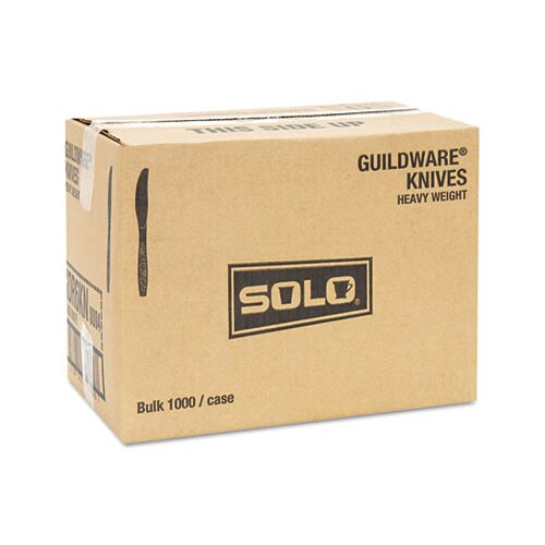 Solo Cups Guildware Heavyweight Plastic Knives, Black, 1000/Carton