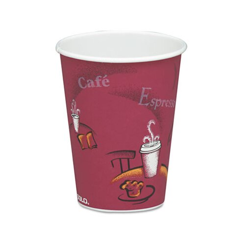Solo Cups Company Bistro Design Hot Drink Cups, Maroon, 50/Pack