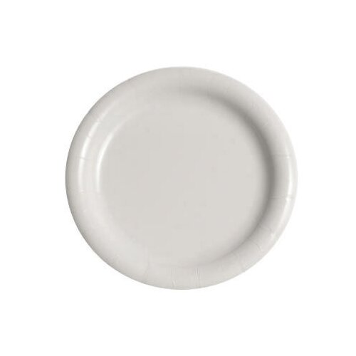 "Solo Cups 9"" Bare Eco-Forward Clay-Coated Round Paper Plate in White"