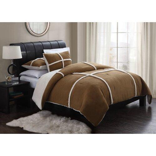 Microsuede Sherpa 3 Piece Comforter Set