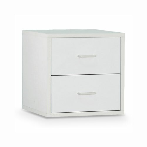 "OIA Cube 15"" Two Drawer Storage Cube in White"