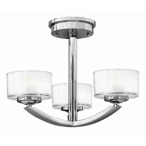 Hinkley Lighting Meridian 3 Light Semi Flush Mount