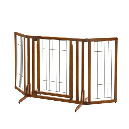 Premium Plus Freestanding Pet Gate with Door Brown 34 - 63