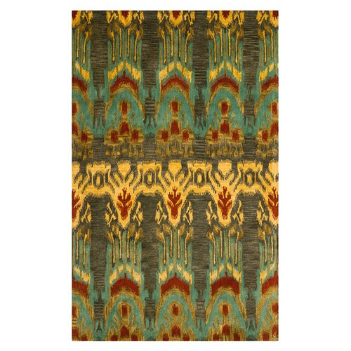 Ikat Olive and Gold Rug