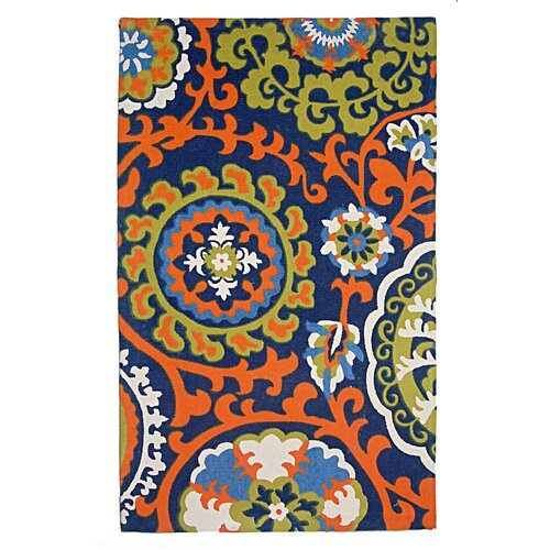 Cedar Brook Light Blue / Orange Floral Rug
