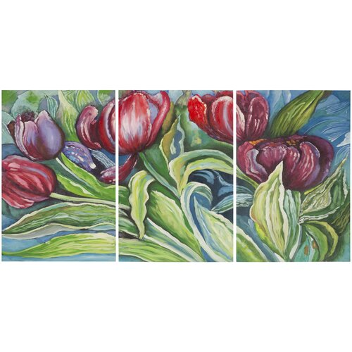 Nouveau Tulips 3 Piece Painting Print on Canvas Set