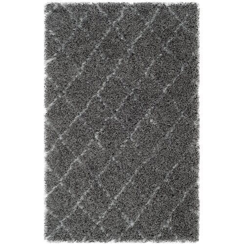 Moroccan Shag Grey / Ivory Geometric Contemporary Rug