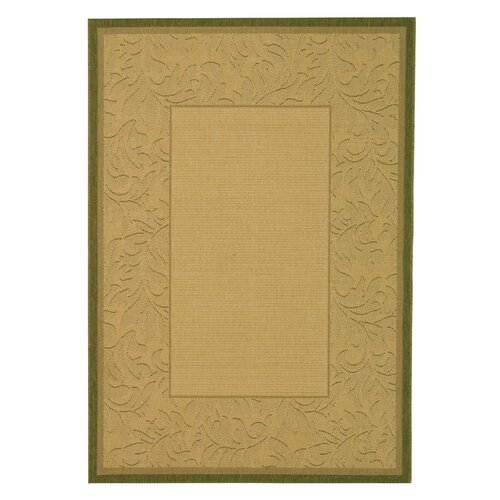 Safavieh Courtyard Neutral Floral Border Outdoor Rug