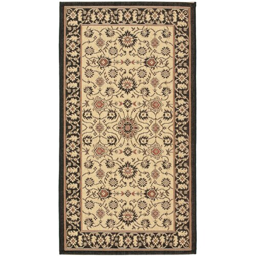 Safavieh Courtyard Black/Crème Flowers Outdoor Rug