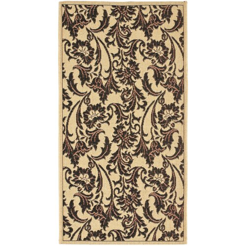 Safavieh Courtyard Crème/Black Leaves Outdoor Rug