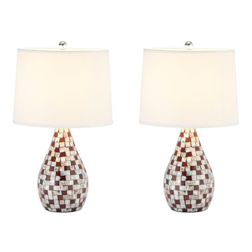 """Safavieh Mother Of Pearl 19.25"""" h Table Lamp with Empire Shade"""