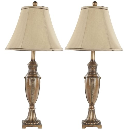 "Safavieh Round Bell Resin 25.75"" H Table Lamp with Bell Shade"