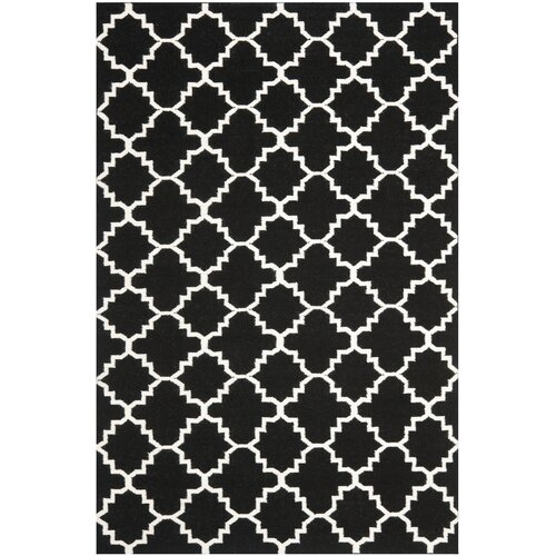 Dhurries Black/Ivory Outdoor Rug