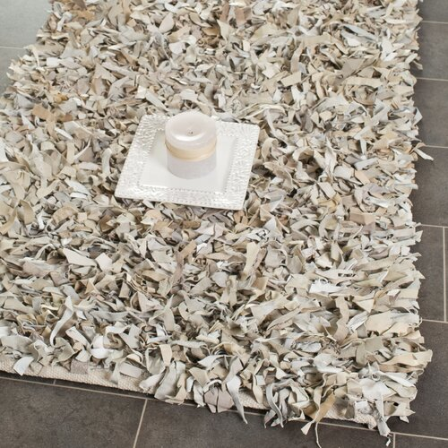 Safavieh Leather Shag White Rug