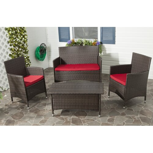 Safavieh Mojavi 4 Piece Deep Seating Group with Cushion