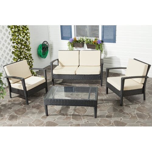 Safavieh Piscataway 4 Piece Deep Seating Group with Cushion